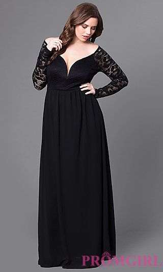 Plus-Size Long Lace-Sleeve Black Formal Prom Dress at PromGirl.com ...