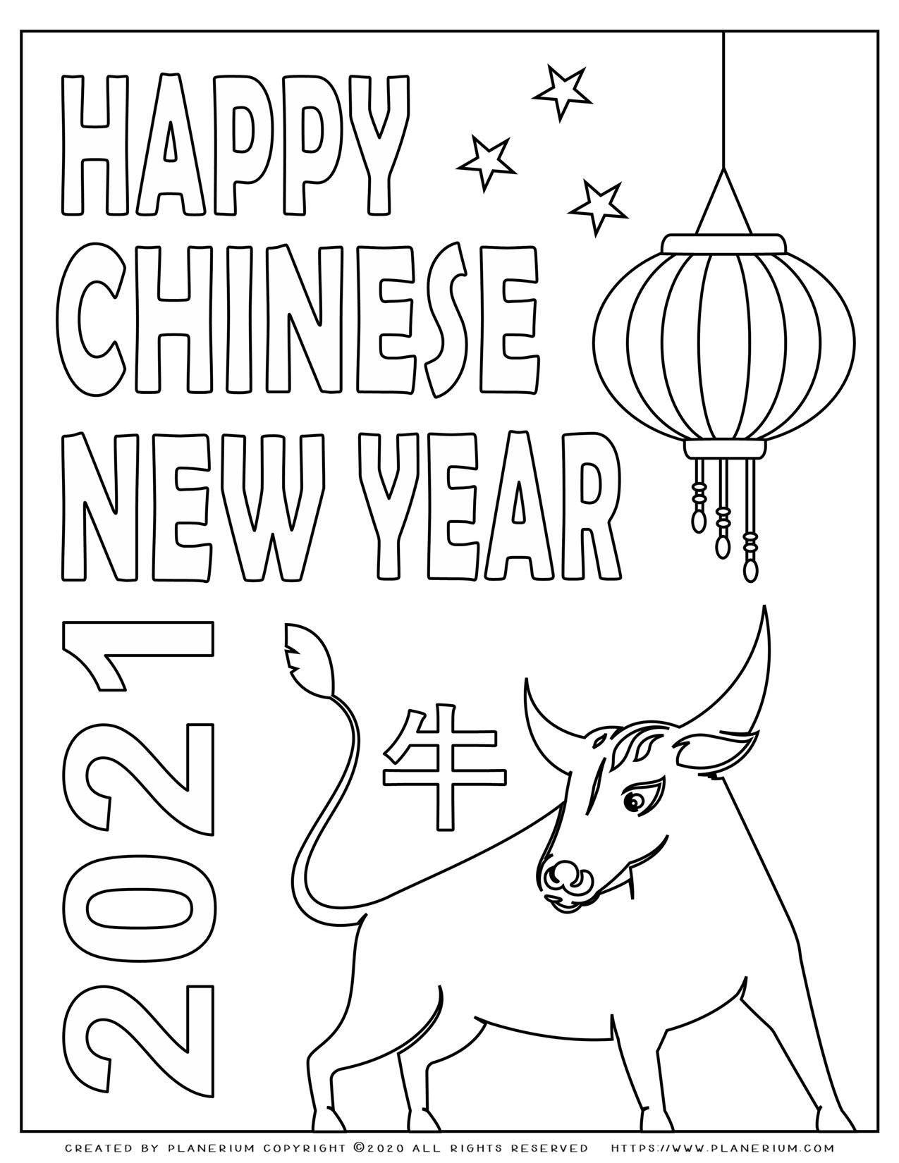 Happy Chinese New Year Ox 2021 Free Coloring Page Planerium In 2021 New Year Coloring Pages Happy Chinese New Year Chinese New Year Crafts For Kids