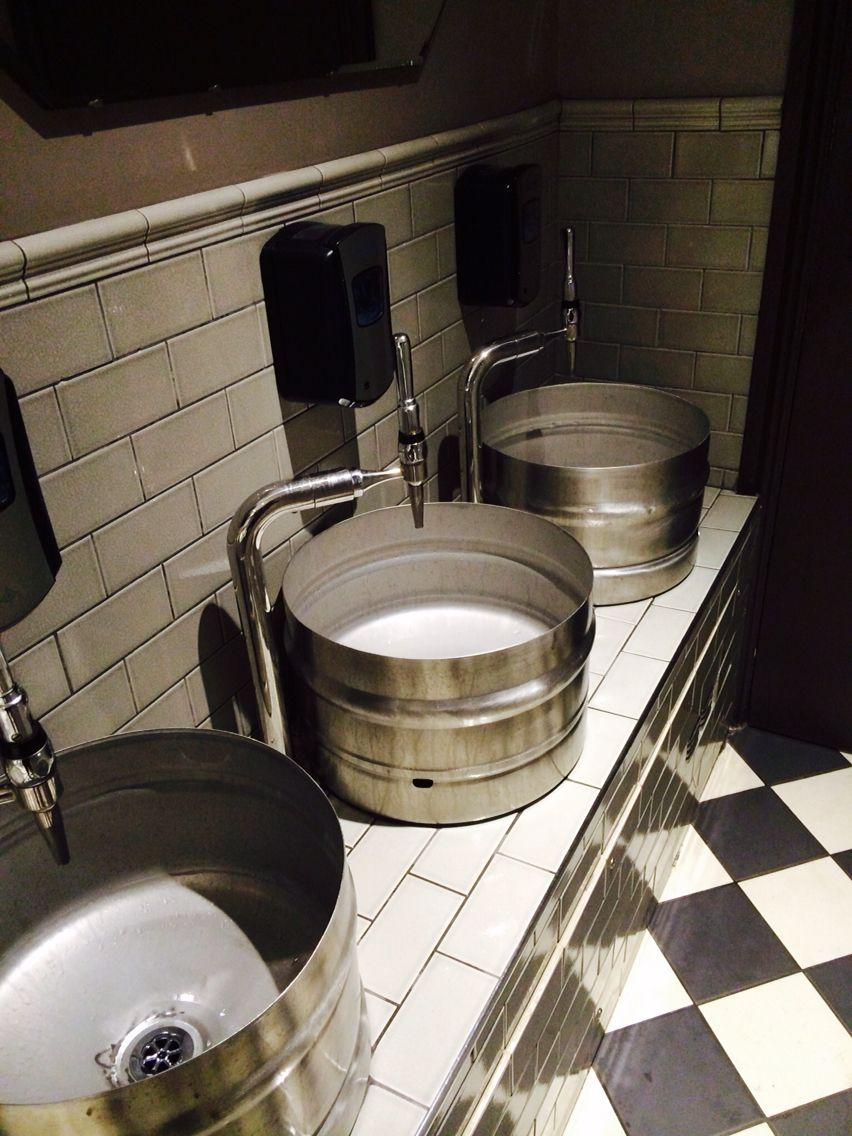 Cool barrel sinks and beer pump taps at restaurant rare in - Restaurant bathroom design ideas ...