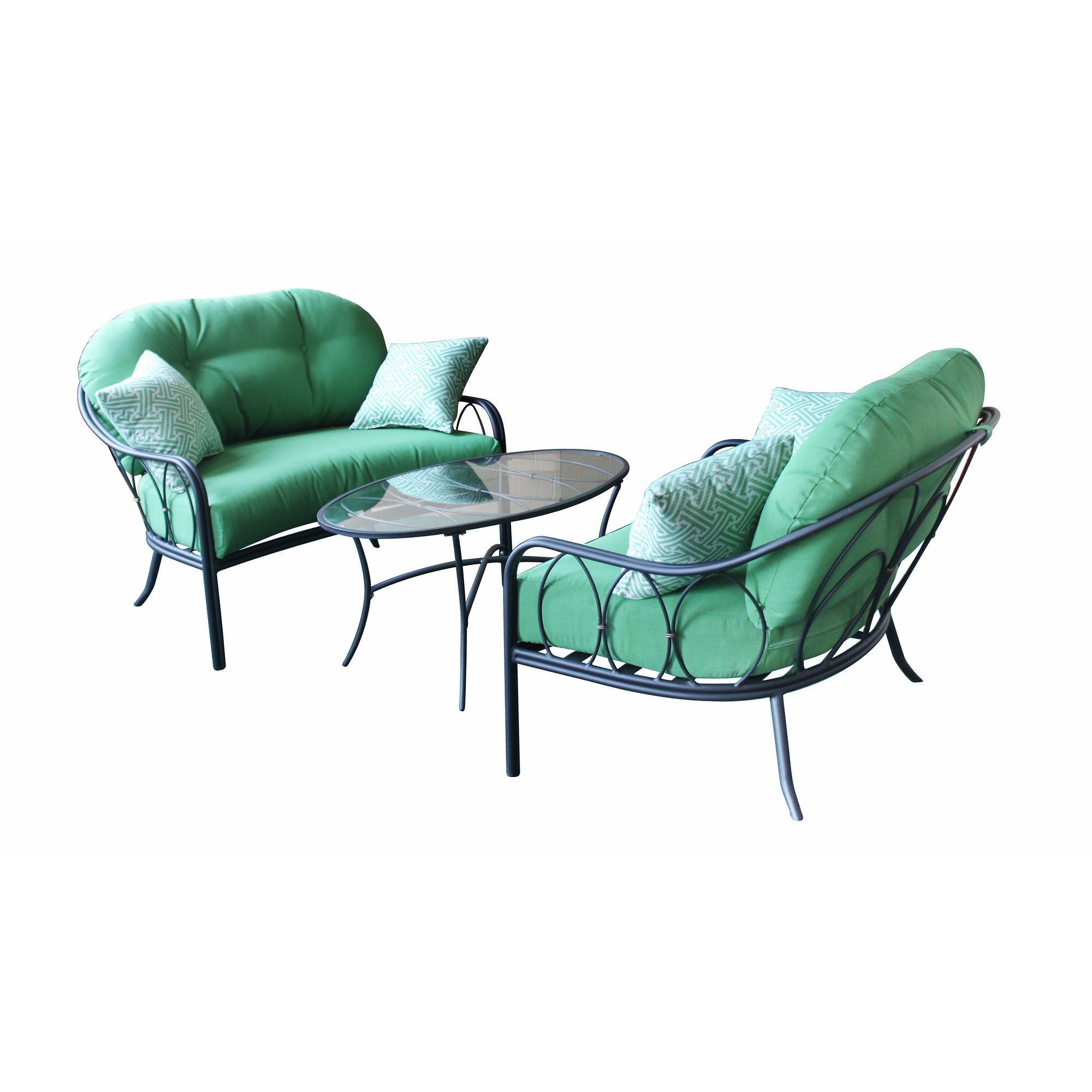Woodard Worldwide 3-Piece Wrought Iron Cuddle Set - $350 Emerald Green
