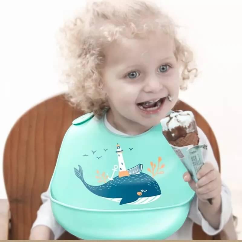 Baby Kids Cute Animanl Bibs Infant Home Feeding Soft Silicone Waterproof Bib