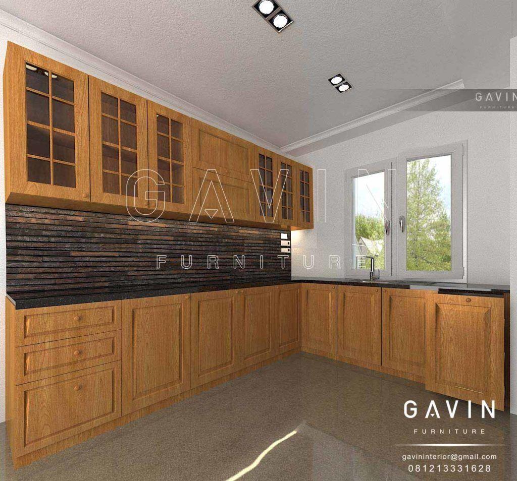 Kitchen Set Kayu Solid Dibuat Dengan Ukuran Kabinet Atas Tinggi 82