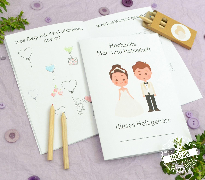 Malheft Und Ratselheft Fur Kinder Auf Hochzeiten Feenstaub At Shop Kindertisch Hochzeit Hochzeit Vorbereitung Hochzeit