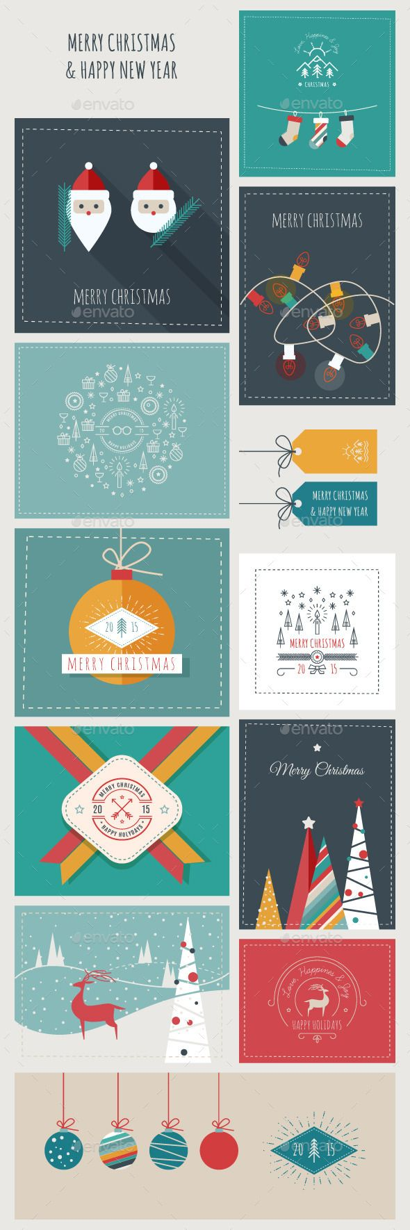 New Year and Christmas Greeting Cards and Banners Template