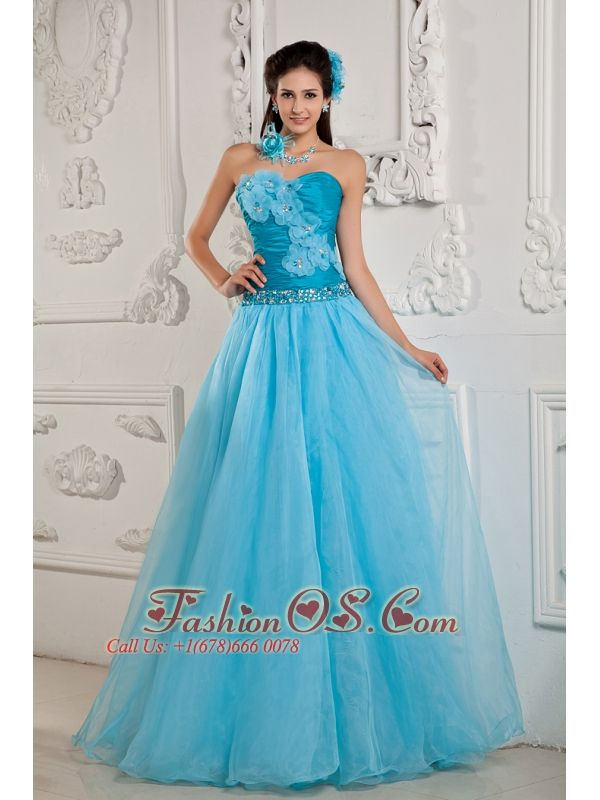 Teal Popular Prom Dress A-line / Princess Sweetheart Chiffon Beading Floor-length  www.fashionos.com  This fashionable strapless ball gown is encrusted with a ruched bodice, sweetheart neckline and lovely flowers scattered on the bodice. The hem of the bodice is decorated with a beaded band,which gives the dress a fantastic look. The dress falls down to the floor with an A-line skirt. The inner fabric can be seen through the tulle make the dress so softly. The back is fitted with zipper.