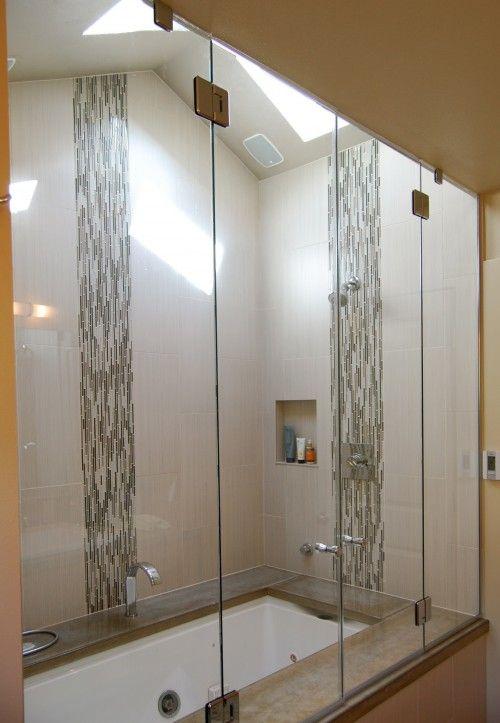 Bathroom Glass Tile Accent Ideas tile shower. i think the background is emser strands | rooms