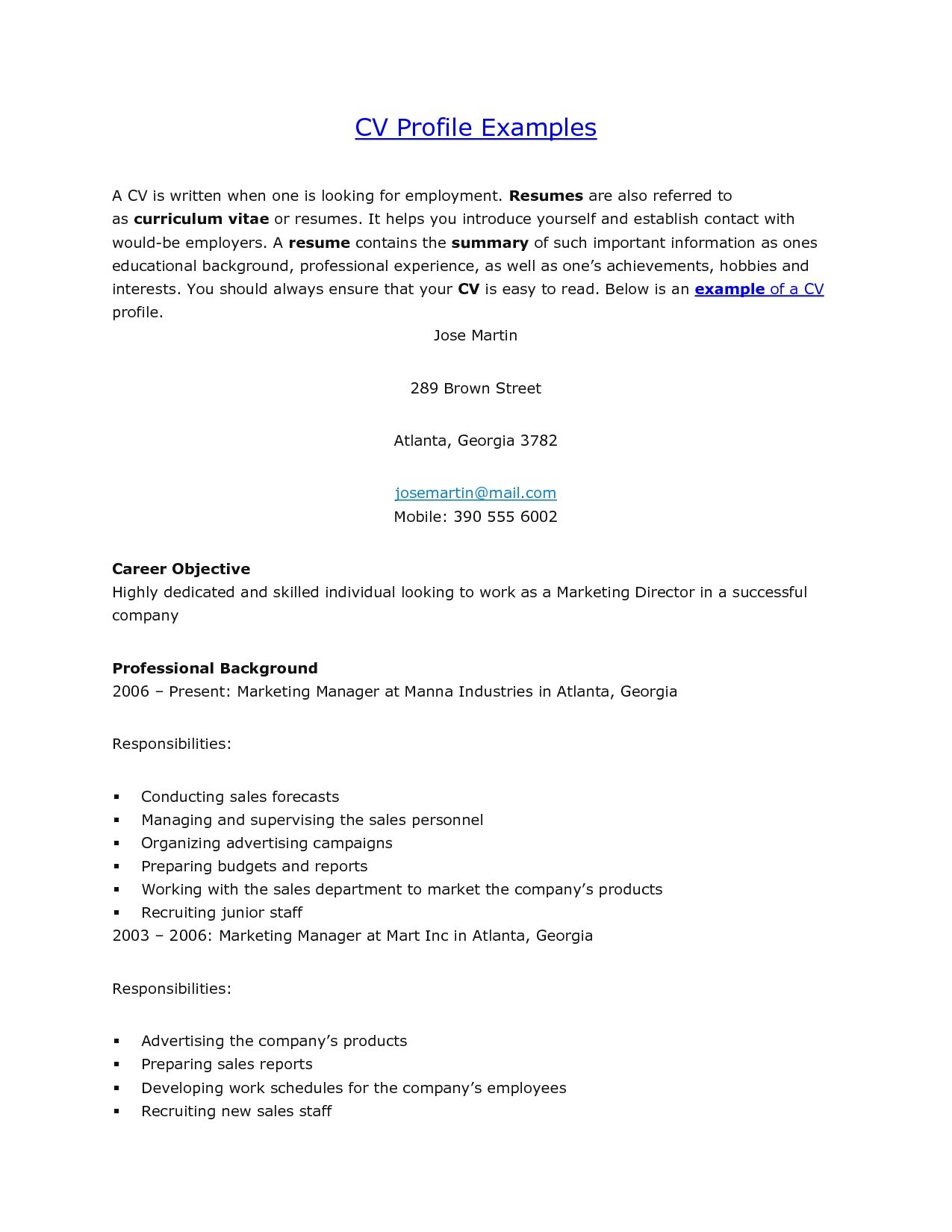 sample cv professional profile
