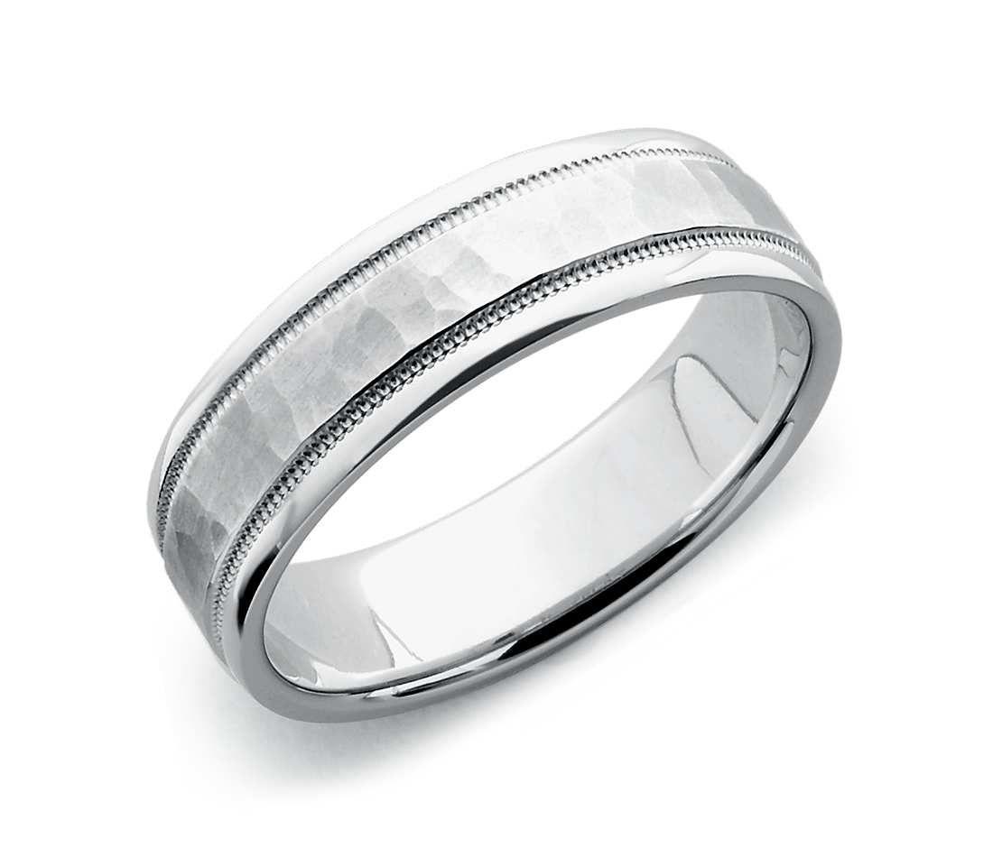 Hammered Milgrain Comfort Fit Wedding Ring In Platinum 6mm Blue Nile Mens Wedding Rings Comfort Fit Wedding Ring Milgrain Wedding Ring