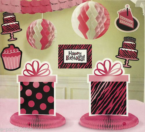 Pink Black Zebra Animal Print Room Decorating Kit Birthday Party