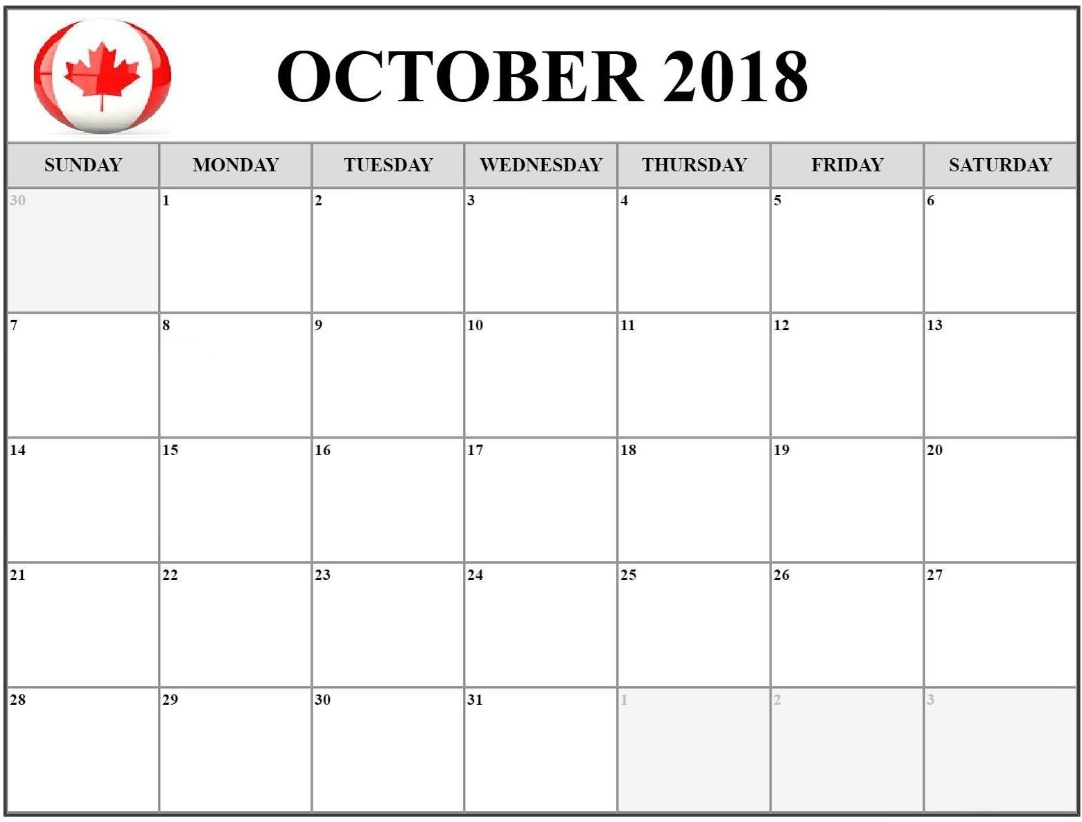 october 2018 calendar canada document