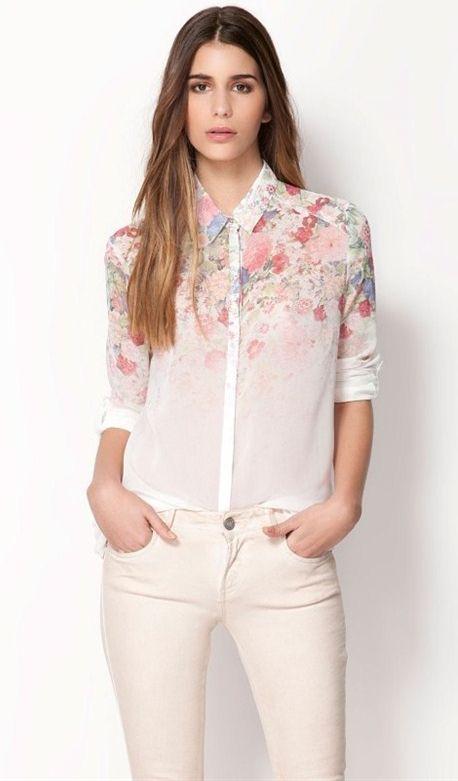 White Long Sleeve Floral Chiffon Blouse - Sheinside.com   Fashion ...
