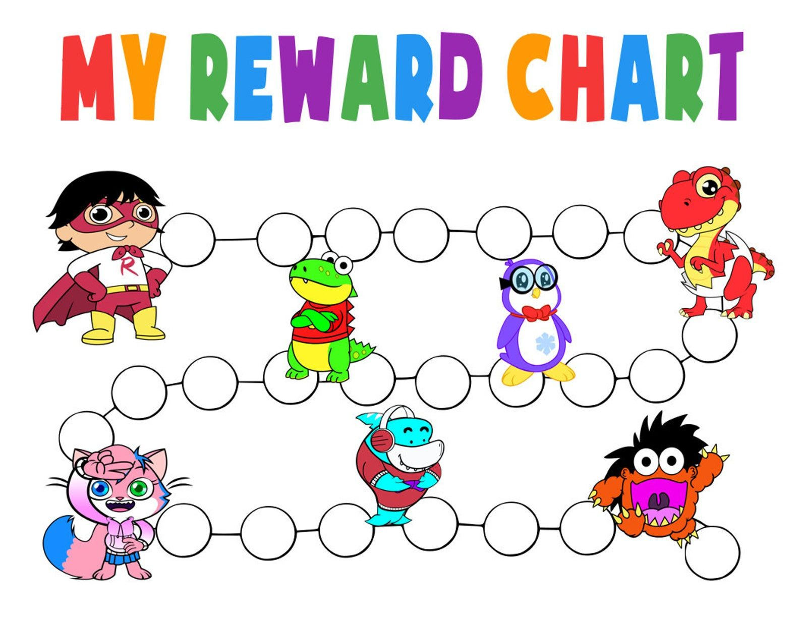 Ryan S World Reward Chart Printable Pdf Ryans World Etsy Reward Chart Kids Printable Reward Charts Potty Chart