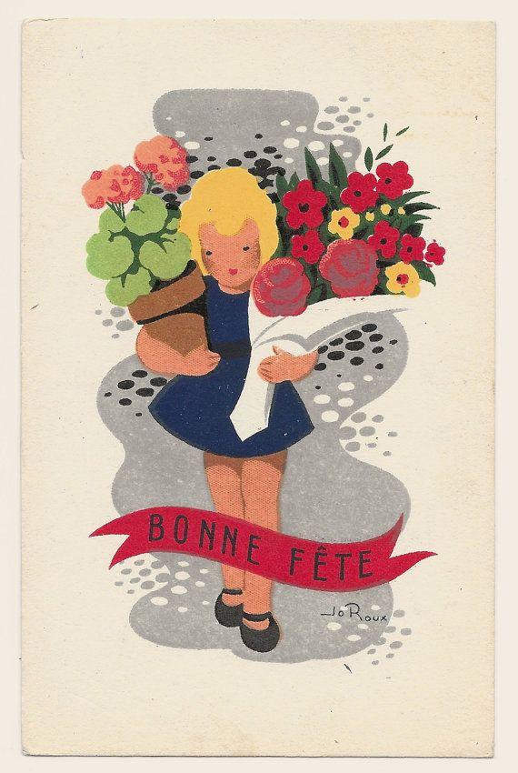 Artist Signed Happy Birthday French Postcard C 1960 Etsy Happy Birthday In French Birthday Postcards Postcard Paper