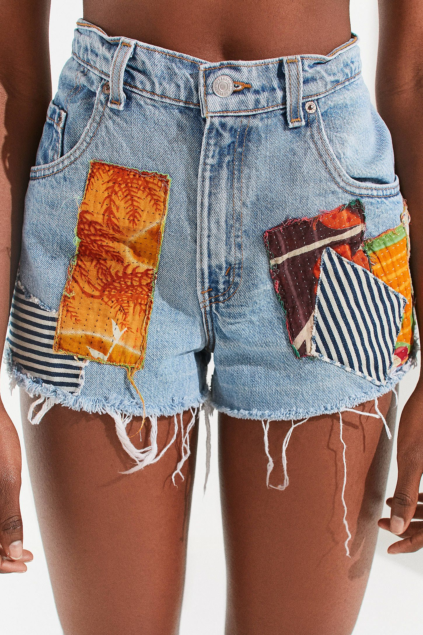 91d88f8d Urban Renewal Remade Quilted Patch Levi's Denim Short | Urban Outfitters