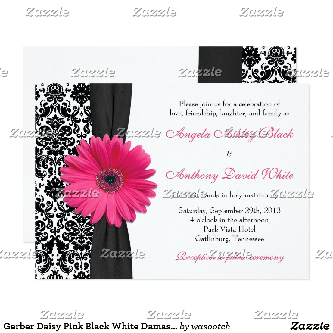 Gerber Daisy Pink Black White Damask Wedding Invitation Zazzle Com Damask Wedding Invitation Damask Wedding Daisy Wedding Invitations