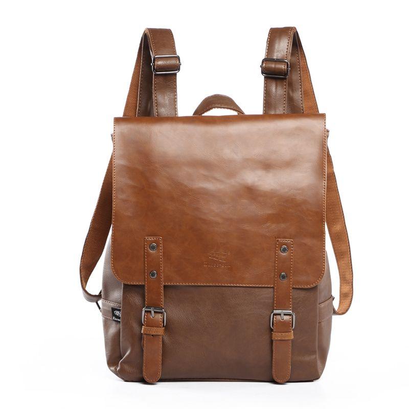 Fashion Women Leather Travel Backpack Men Business Laptop Bag Schoolbag Daypack