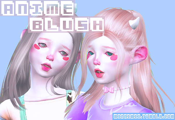 minnimii Anime Blush Sims 4, The sims 4 skin, Sims 4 cas