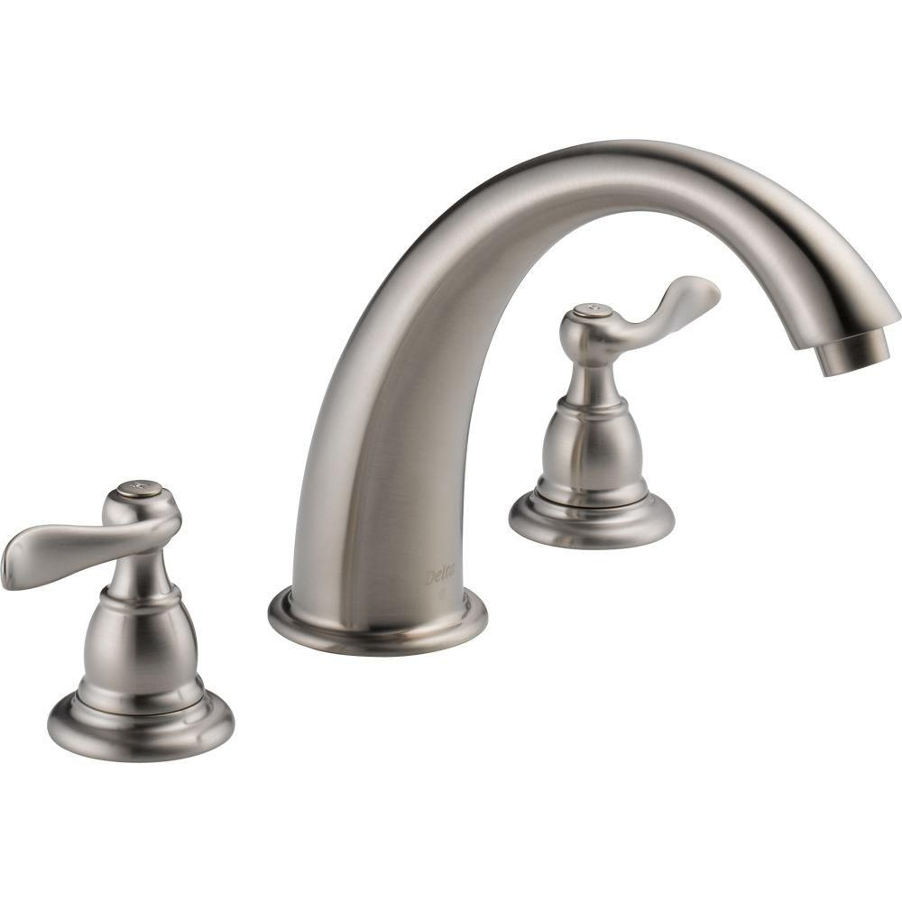 Delta Faucet Single Handle Vessel Bathroom Parts Diagram Windemere 2 Deck Mount Roman Tub Trim Kit Only In Stainless Valve Not Included
