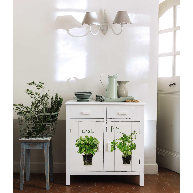 Wooden kitchen sideboard in white W 80cm Maisons du