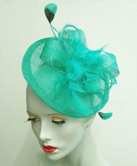 Jade green feather and sinamay saucer fascinator headband fixing ... 89c87f3f8b7