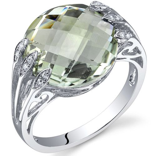 5.00 cts Double Checkerboard Cut Green Amethyst Ring Sterling Silver Size 5 to 9[6]