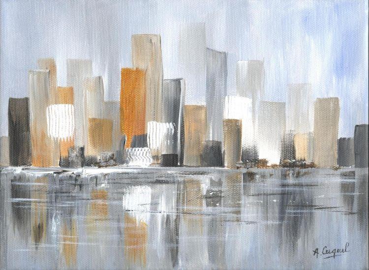 TABLEAU PEINTURE New york usa littoral ville - City 1 en 2019 | Tableaux peinture moderne ...