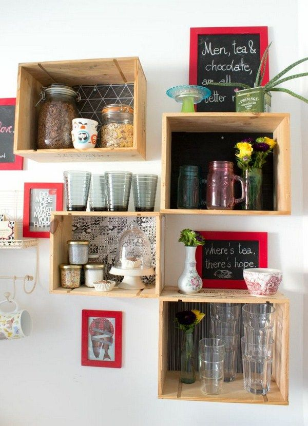 Wine Crate Shelf Abstract Kitchen Sheen Wanddeko Tabular Flowers