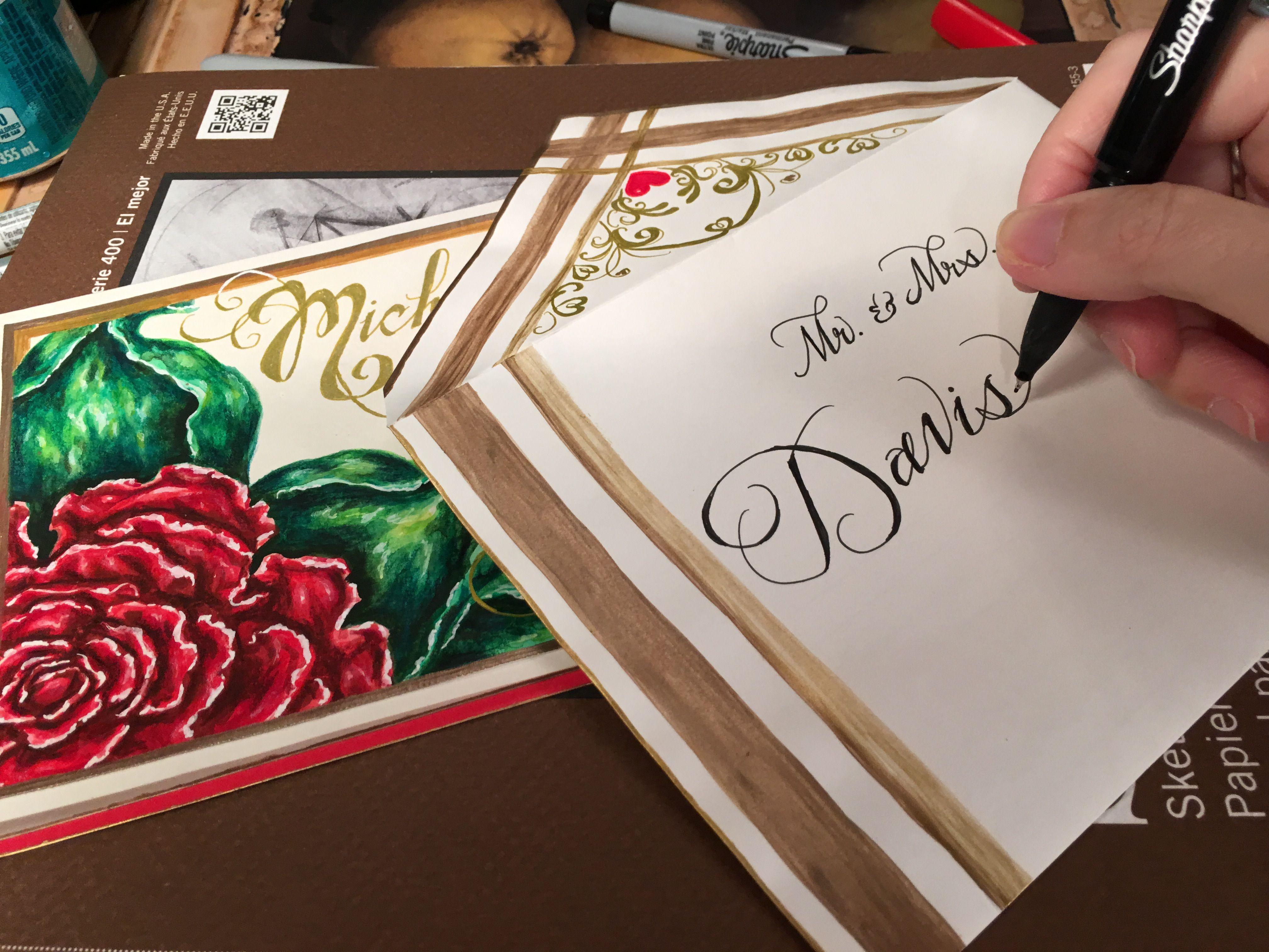 Calligraphy on envelopes lettering art studio