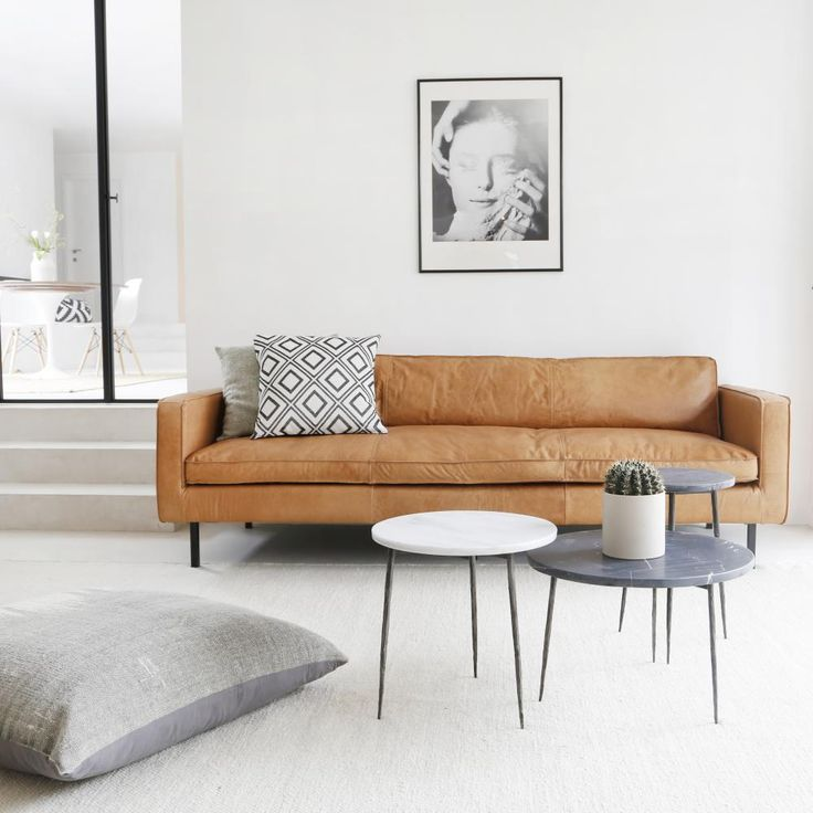 Ledersofa hellbraun modern beige minimal