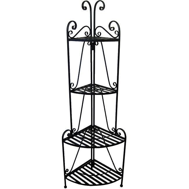 Corner Bakers Rack With Storage Folding Bakers Rack 4 Tier Corner Plant Stand Iron Storage Rack