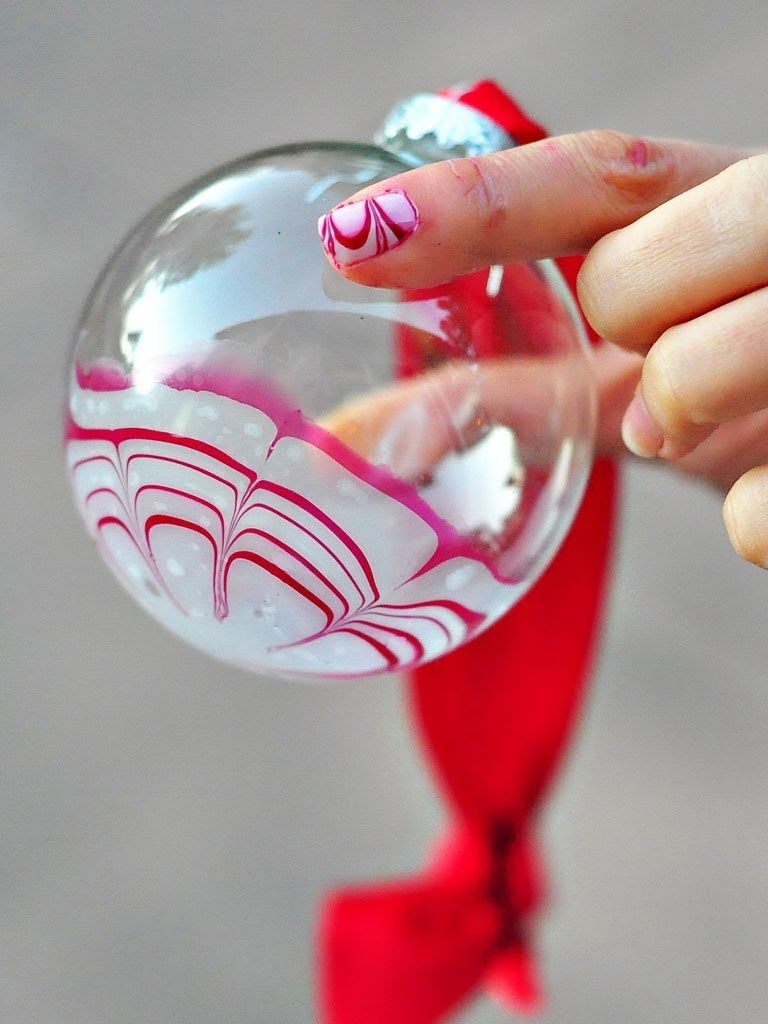 Christmas Ornaments Nail Polish : Water marble candy cane glass ornament with nail polish