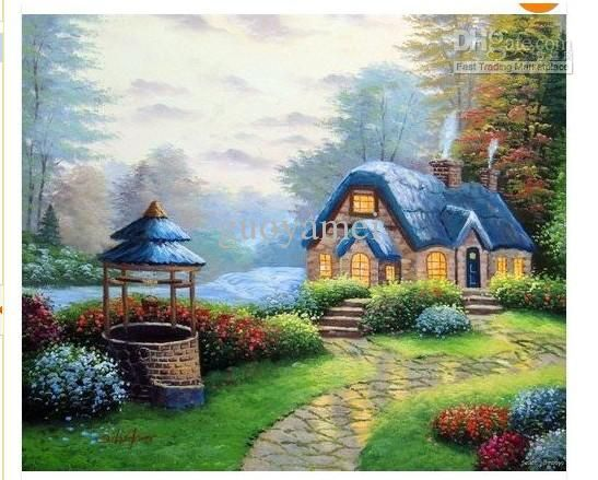 English Country Home Bungalow Wishing Well River Rapids 20X24 Oil Painting Art