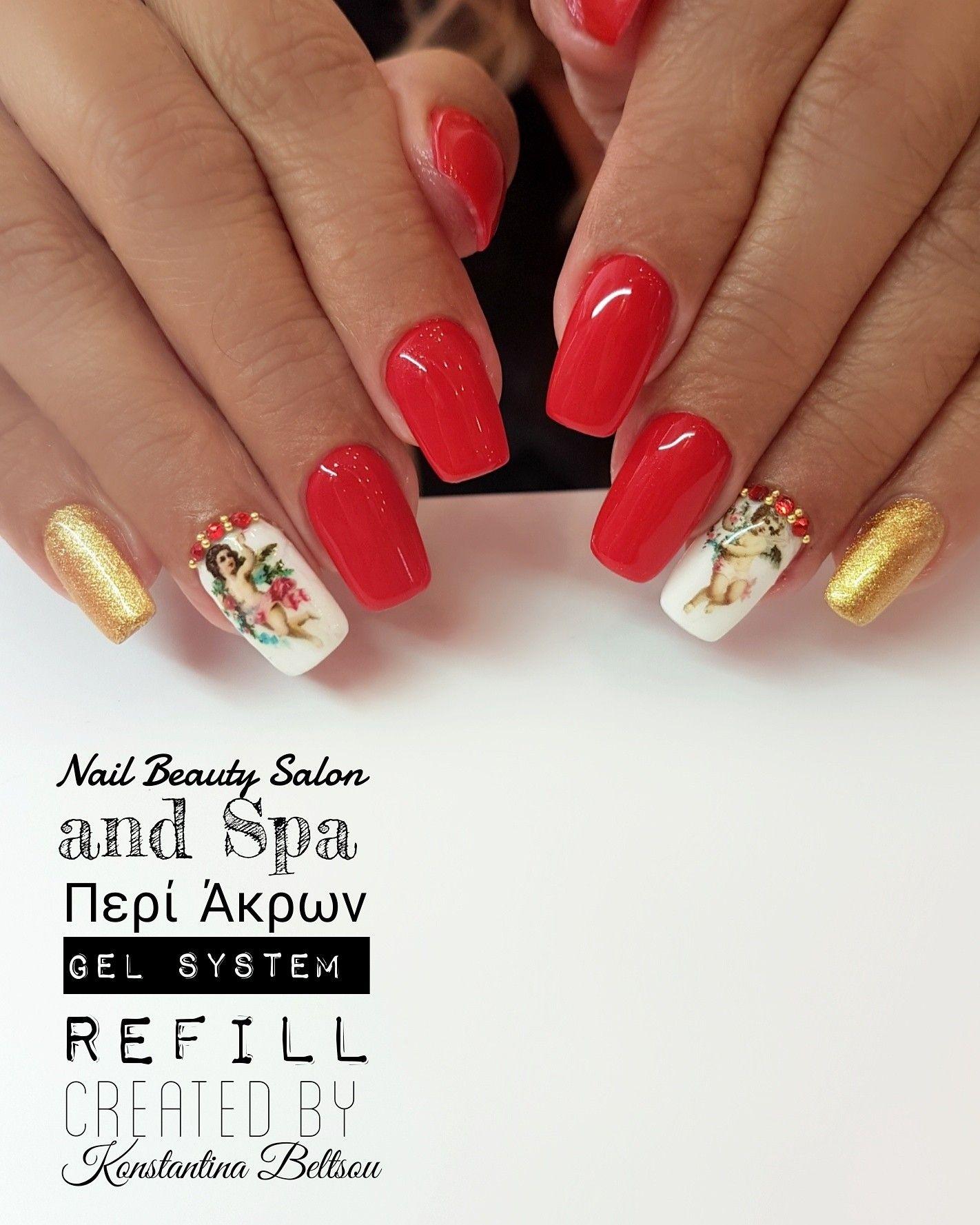 Long square Oval Shape nails, nail art, red nails, vintage, angels ...
