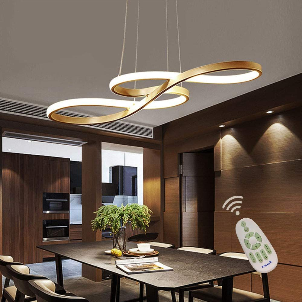 Modern Led Acrylic Chandelier Dining Room Dimmable 3000k 6500k Remote Control Pendant Ligh In 2020 Dining Room Lighting Dining Room Decor Modern Dining Room Chandelier
