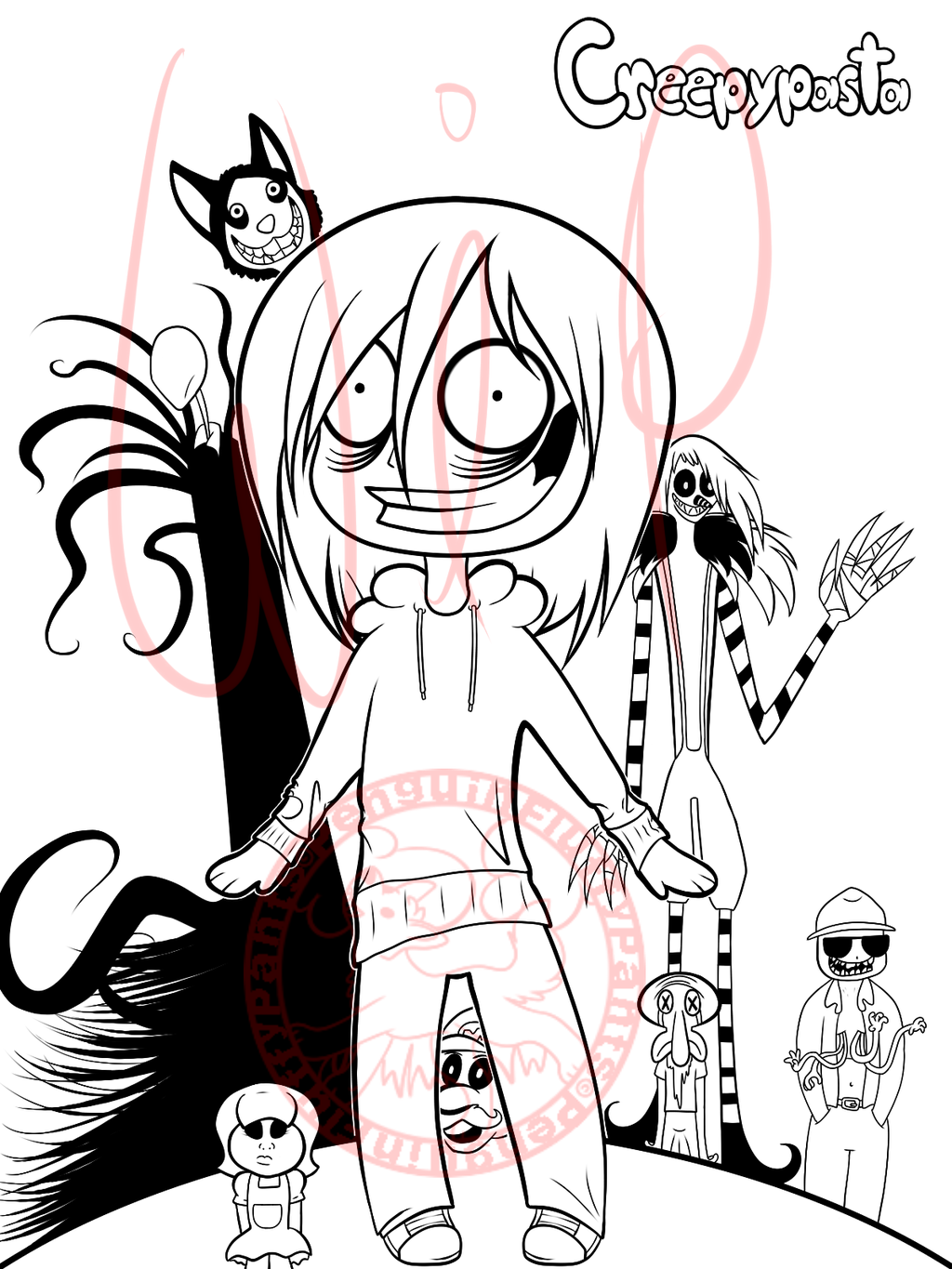 creepypasta coloring pages CreepyPasta Coloring Page WIP by PenguinFluffyPants.deviantart. creepypasta coloring pages