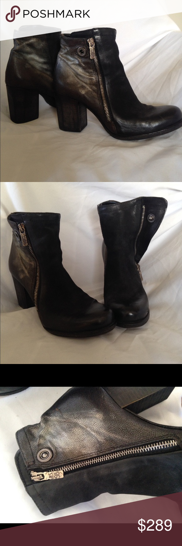 A.S. 98 Black Leather Moto Ankle Boot Silver Shading boots