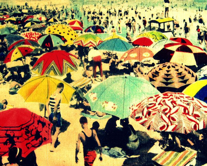 Vintage Beach Art, Umbrella Art, Art Deco Beach, Beach Artwork ...