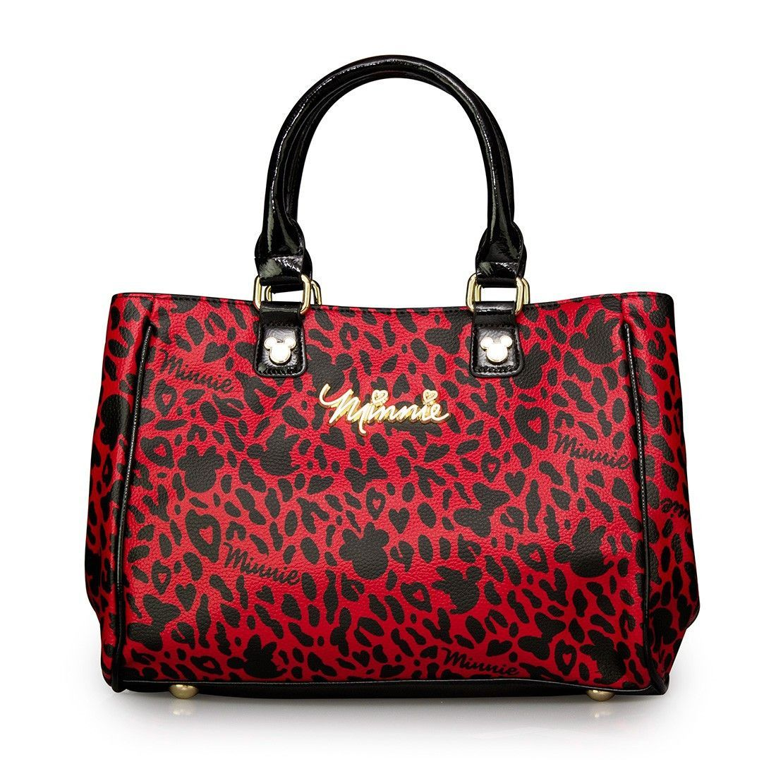 4c696711d06 Disney Minnie Mouse Red and Black Leopard Print Fashion Tote Purse Hand bag