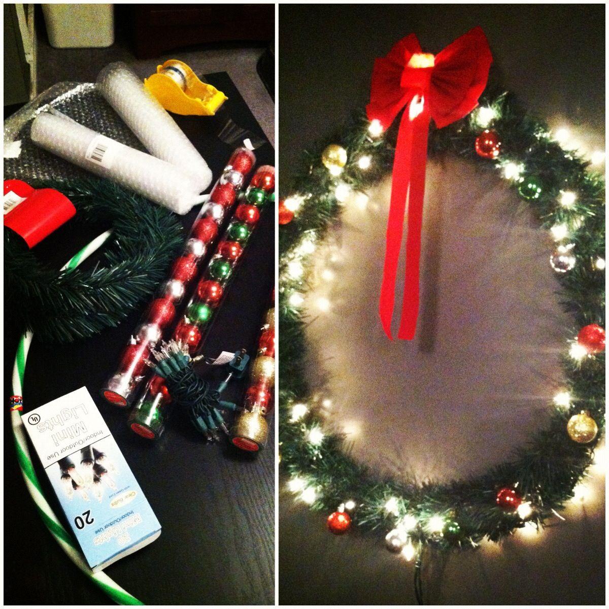 Dollar Store Christmas Wreath: SUPPLIES 1 Hula Hoop. 3
