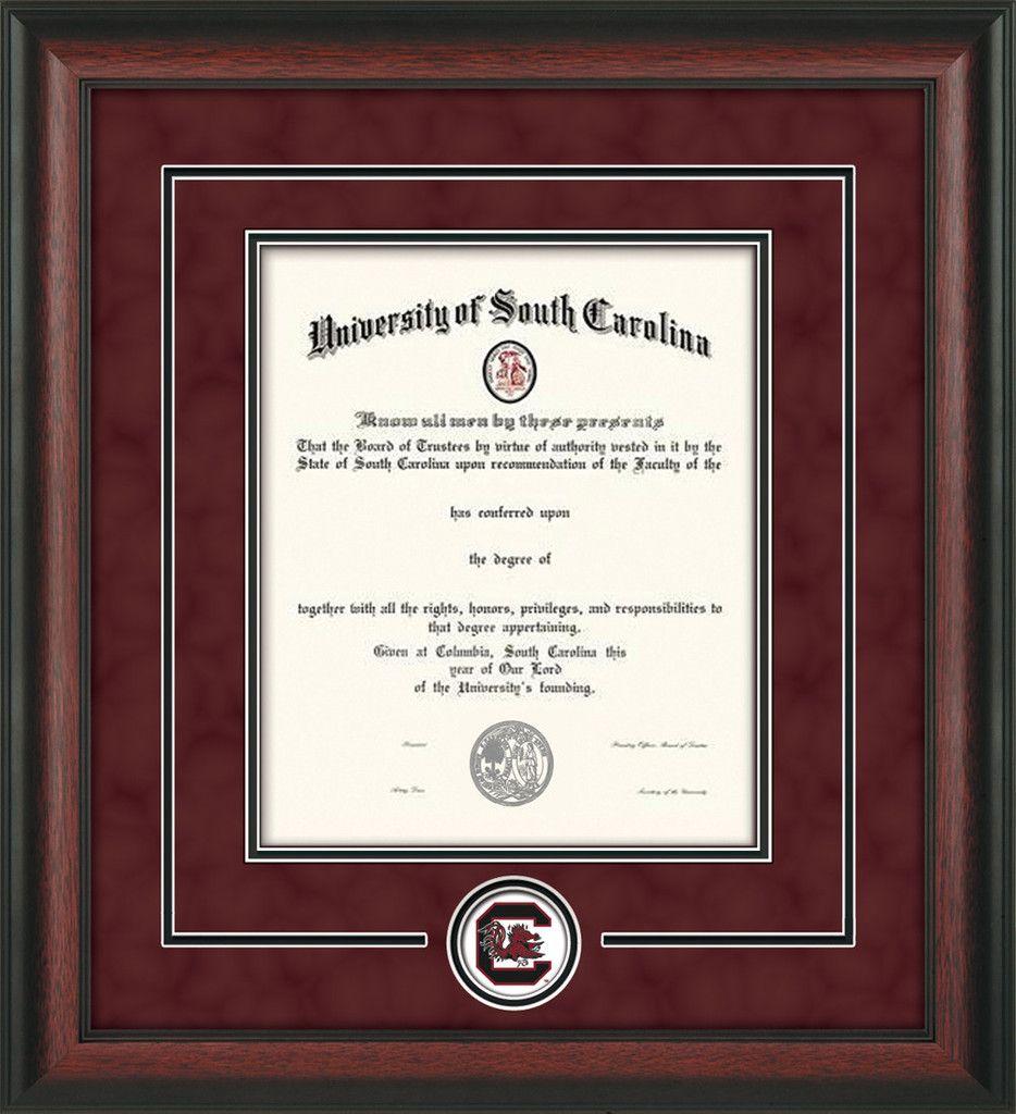 U of South Carolina Diploma Frame-Rosewood-Logo-Print-Garnet Suede – Gamecock -Professional Framing Company