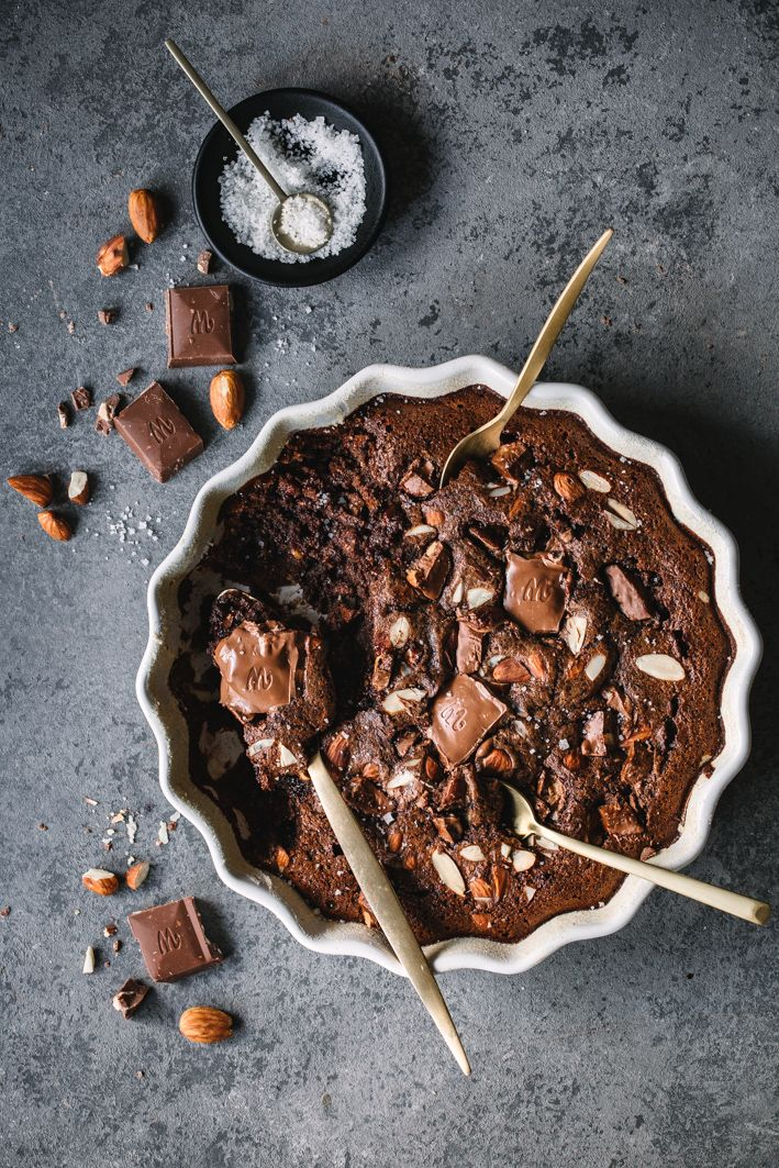 Chocolate bake with salted almonds