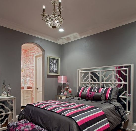 Pink and grey bedroom ideas with light gray chest | Decolover.net ...