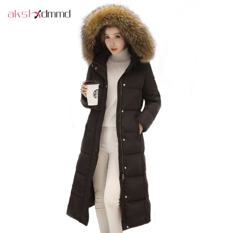 4c0febd665ef -30 Degree Down Coat 2016 New Winter Jacket Women Long Section Big Fur  Hooded Duck Jackets and Coats Female Thick Parkas LH435