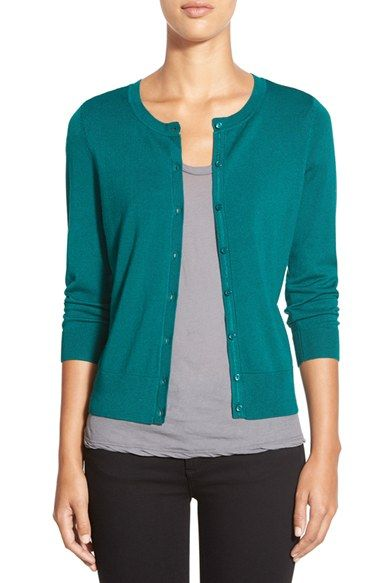 Halogen® Three Quarter Sleeve Cardigan (Regular & Petite) | Nordstrom