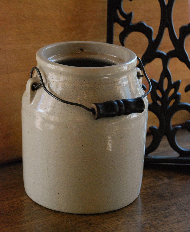 FREE SHIPPING Small Vintage Salt Glazed Crock Rustic