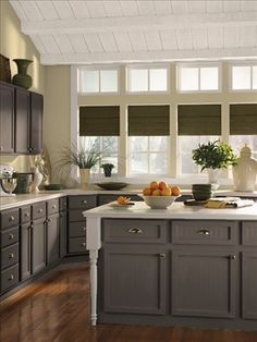 Beige walls and painted dark cabinets Neutral Kitchen Grey Yellow Kitchen Kitchen Colors & Beige walls and painted dark cabinets | Heatherwood | Pinterest ...