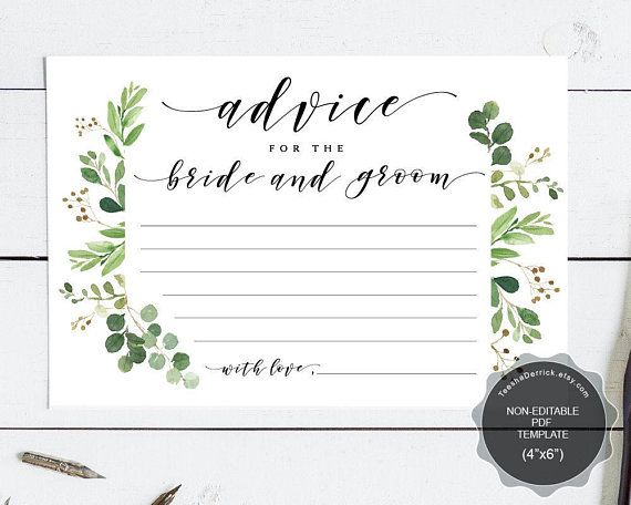Wedding Advice Card For The Bride And Groom Instant Download