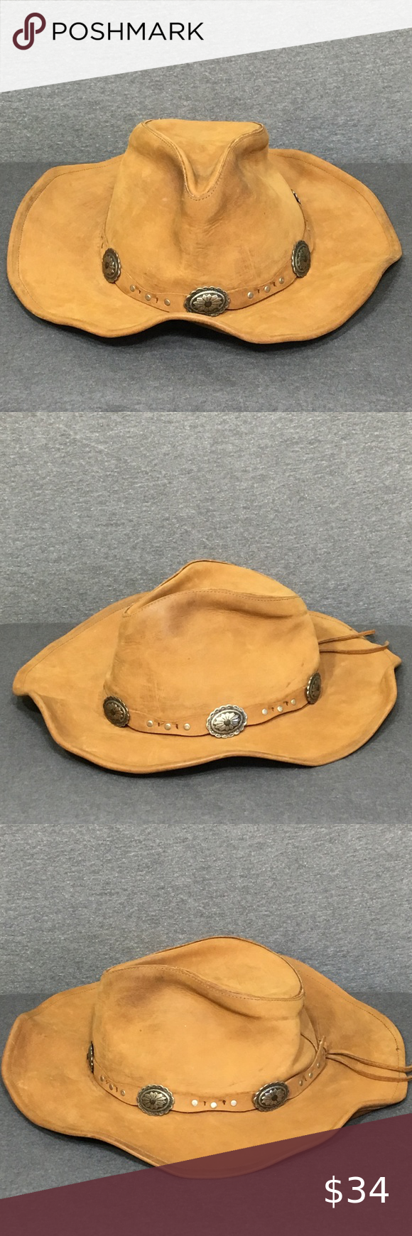 Stetson Leather Hat Brand Stetson Size Medium Item Brown Leather Cowboy Hat Features Roxbury Rodeo Style P Leather Hats Rodeo Fashion Leather Cowboy Hats