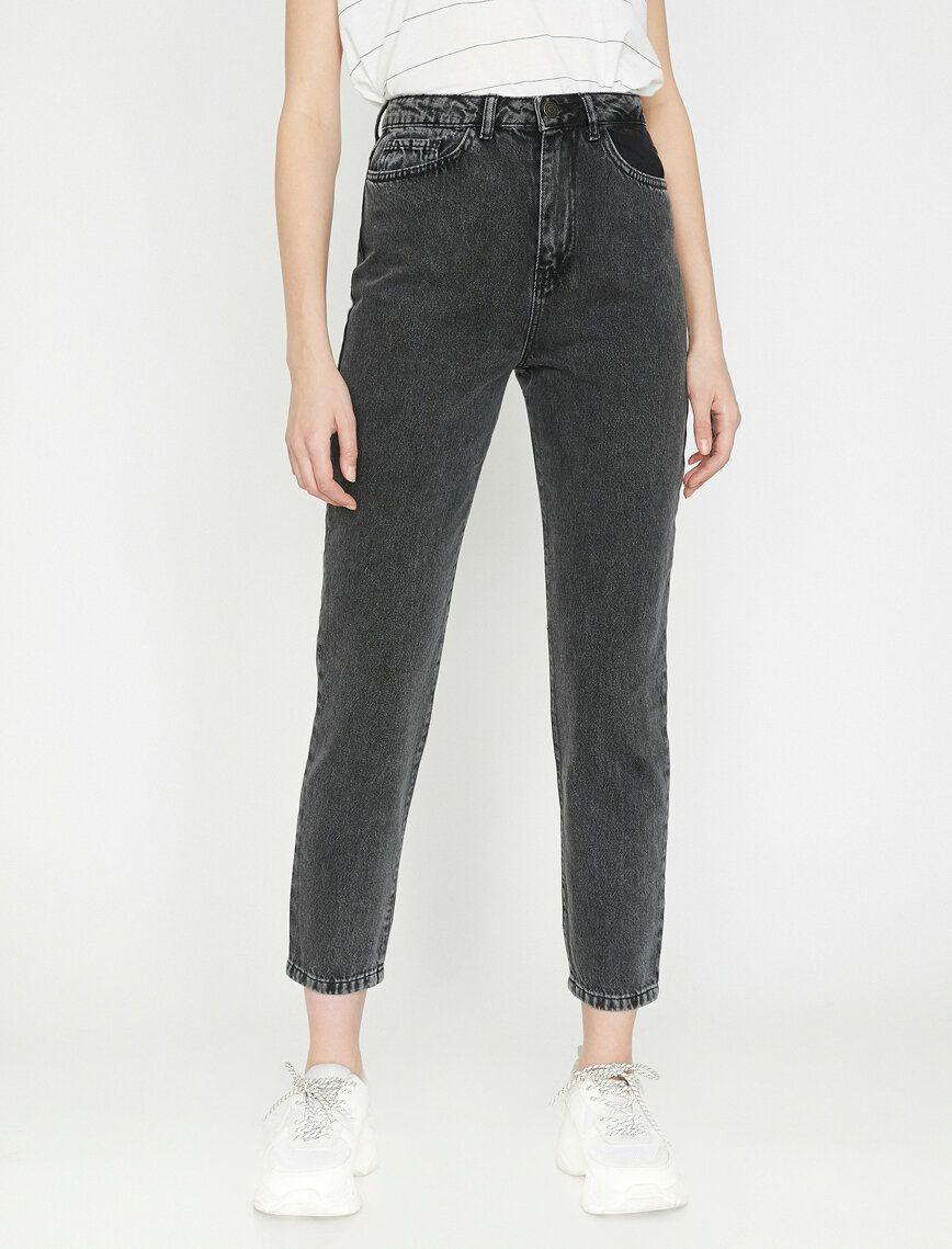 Mom Jean Pantolon Pantolon Siyah Pantolon Tarz Moda