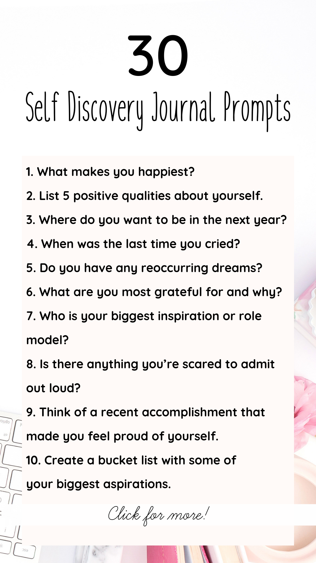 Keeping a journal comes with many amazing benefits such as stress level management, mindfulness, and an overall boost in self-esteem and mood! Here are just a few reasons to start journaling, plus 30 journal prompts for self discovery!